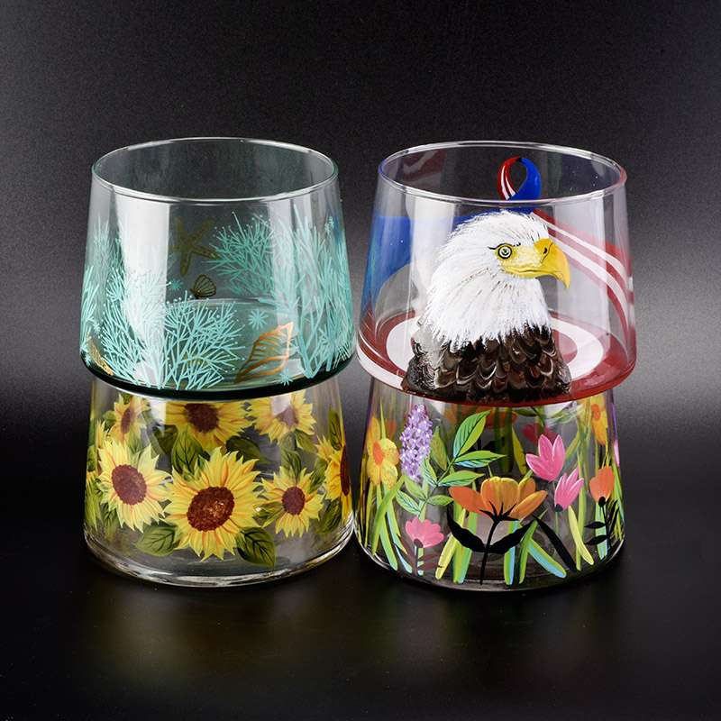 730ml hand made glass candle jars with hand painting