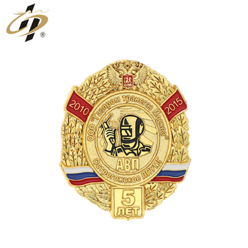 Custom royal Russian gold souvenir metal lapel pins with butterfly clutch