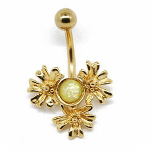 Hot sale stainless steel navel piercing gold plated body jewelry