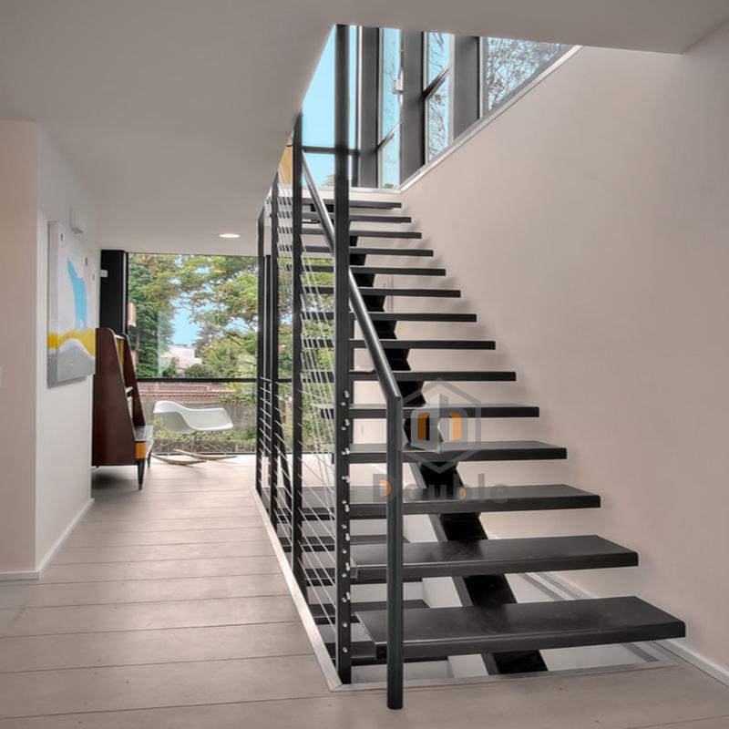 Modern Steel Stairs / Stainless Steel Railing Mono Beam