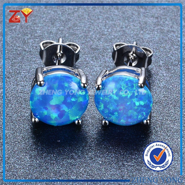 Blue Opal Stone Silver Jewelry, Opal Stone Earring Studs, Opal Earrings