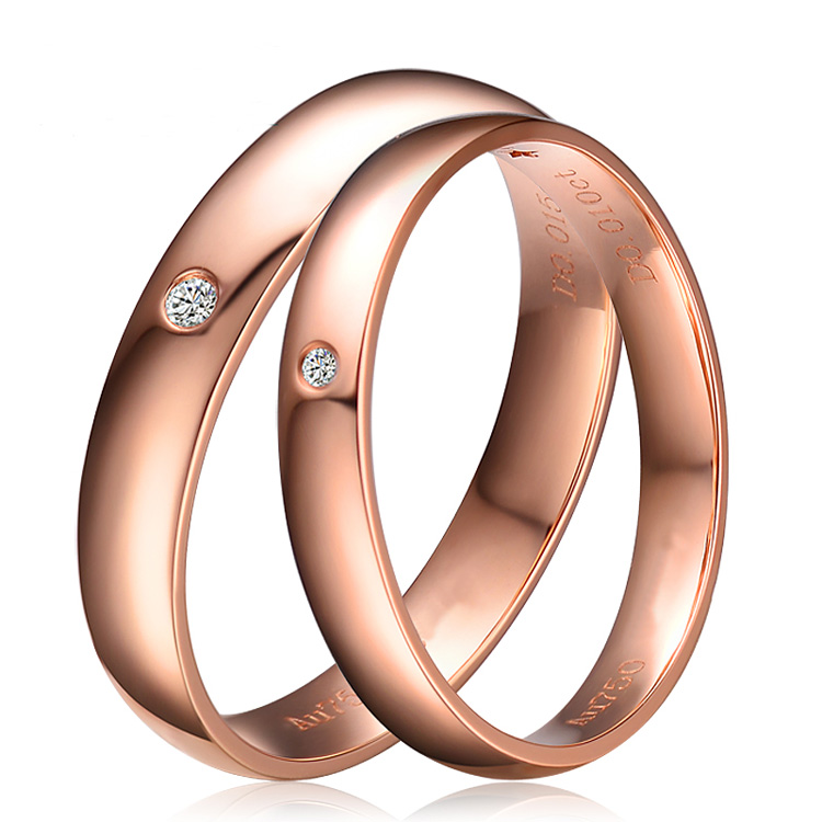 Real 18K Solid Rose Gold His And Hers Wedding Ring Sets Pair Round Brilliant Cut 0.02CT Certified H / SI Gift Free Shipping