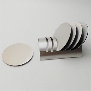 Set of 6pcs Stainless Steel Tabletop Display silver Round Cup Coaster with Holder