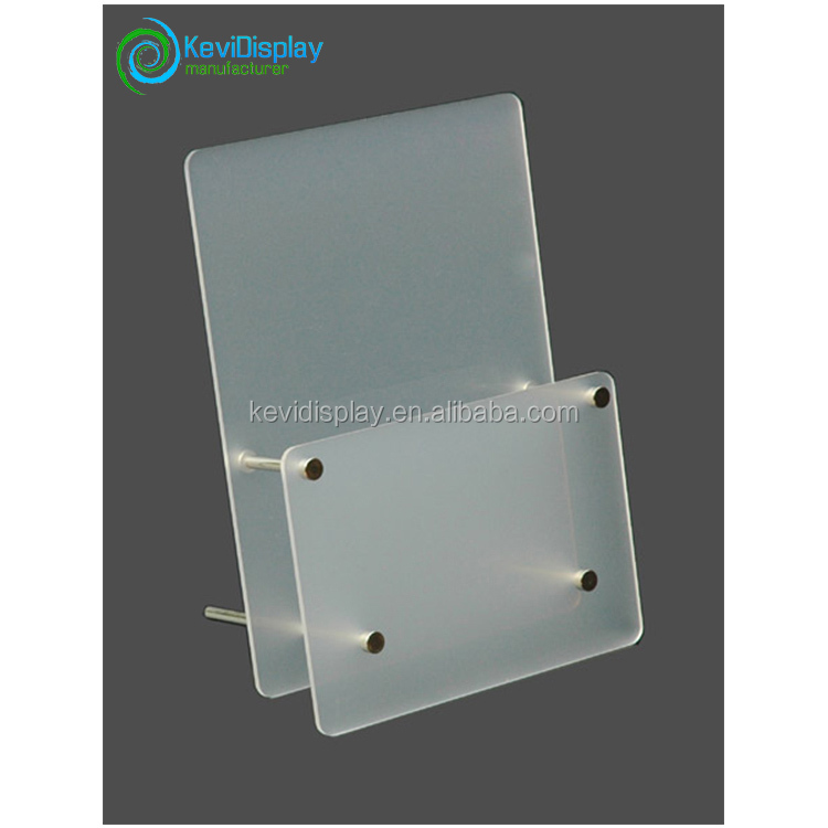 Transparent PMMA Table Stand Menu Holder With Metal Supporting Leg