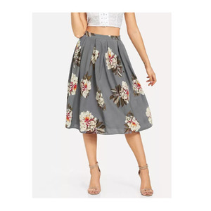 Wholesale New Fashion Casual Custom Lady Design Floral Vintage High Waist Long Skirt