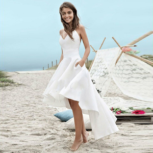 Short Front Long Back Beach Wedding Dress with Pockets Spaghetti Straps Backless Satin Boho Casual Dresses