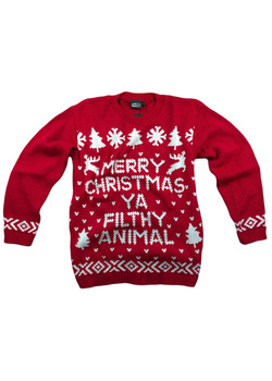 Merry Christmas Ya Filthy Animal Text Motif Knitted Christmas