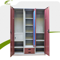 Steel chinese wardrobe/bedroom metal 3 door almirah design iron waterproof wardrobe