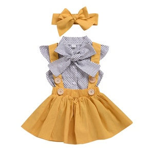 Hot selling Cotton Ginger girls boutique clothing Baby Clothes Sets for Summer