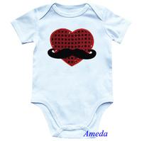 Valentine's Day Baby Mustache Bling Red Heart White Short Sleeves Onesie NB-12M