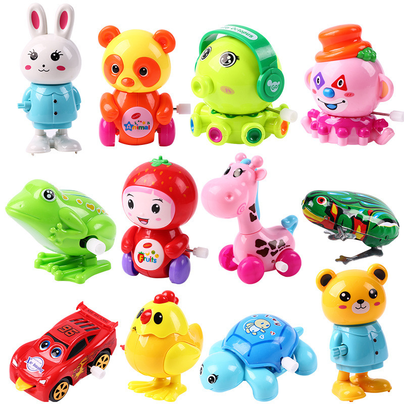 Children baby boys and girls wind-up toys frog small animals will run on the chain toys 1-3 years old wholesale