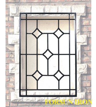 New simple iron window grill design buy steel window for Exterior window grill design