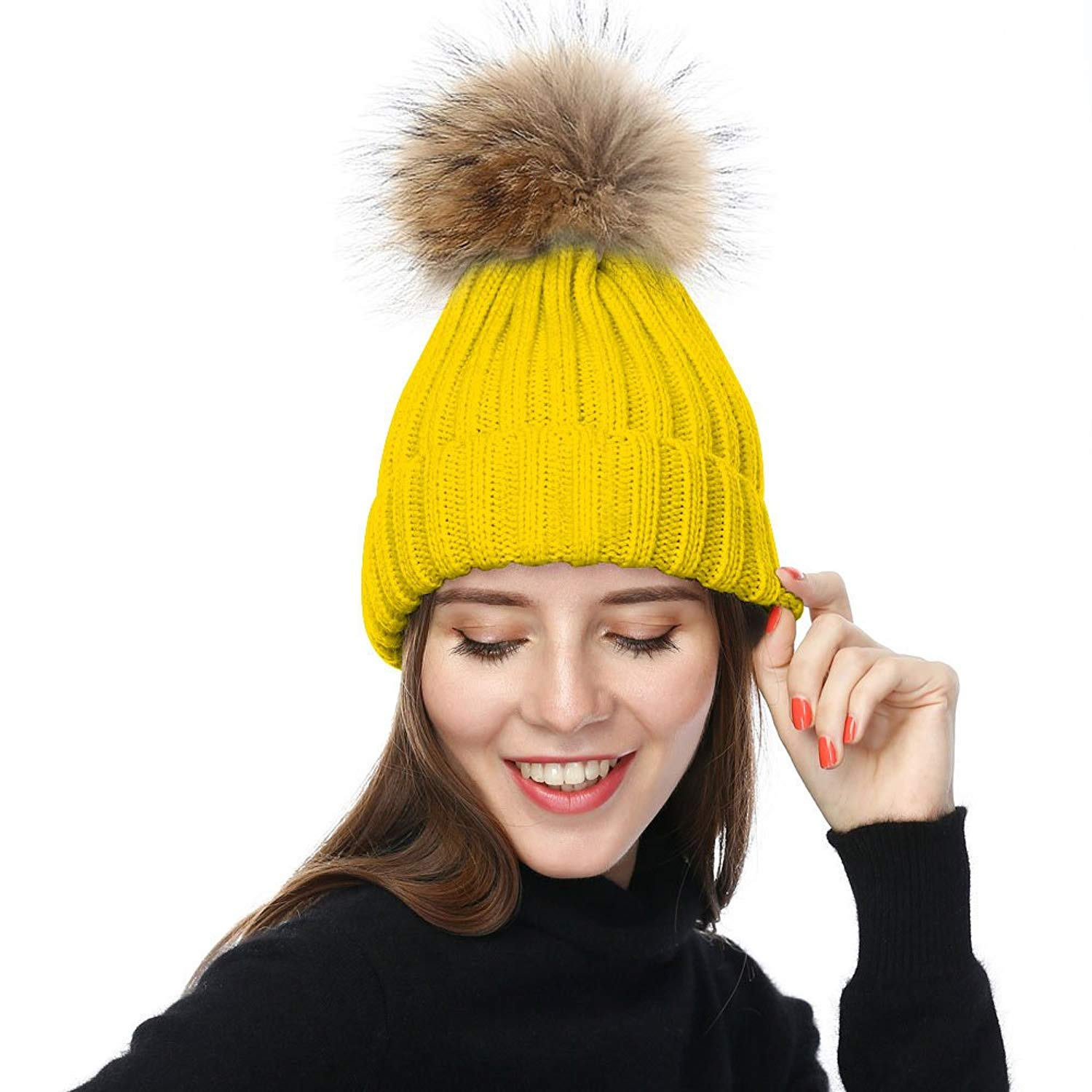 d4b95179b06 Get Quotations · JULY SHEEP Womens Girls Winter Knitted Beanie Hat Real  Large Raccoon Fur Pom Pom Bobble Hats