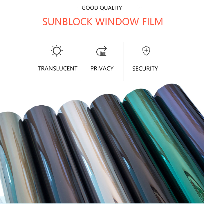 1.52m 3m 2mil building window privacy security anti explosion solar blackout car window tint film