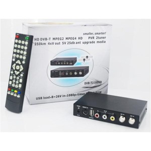 Dvb-t mpeg4 usb tv tuner DVB-T2100HD-612 Car TDT TNT HD SD DVB-T Receiver MPEG4/H.264 dual tuners, USB Recorder