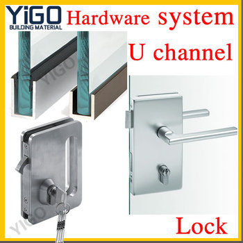 Sliding Central Frameless Glass Door Lock Electric Sliding Glass