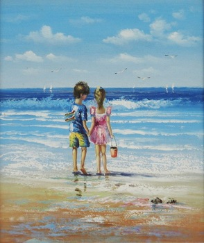 Vaak Kunstwerk Zeegezicht Kinderen Liefde Spelen Op Strand Canvas &NU72