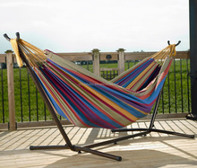 Double Hammock With Space Saving Steel Hammock Stand Includes Portable Carrying Case, Elegant Desert Stripe
