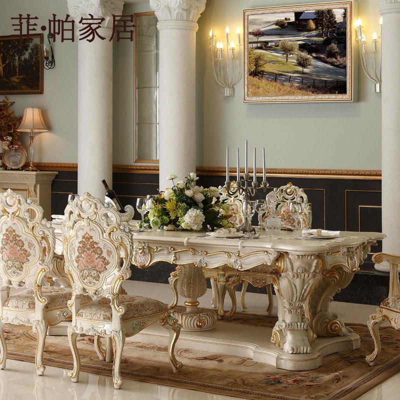Estilo italiano muebles comedor mano talla hoja dorado for Muebles estilo italiano