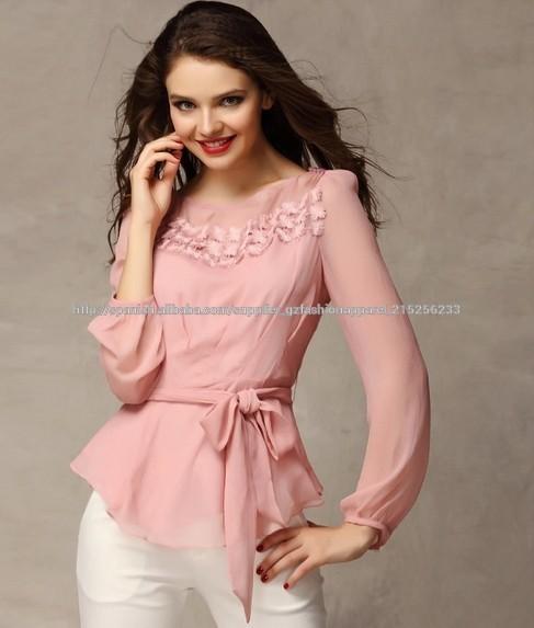 seoras de moda moderna y blusa manga larga tops