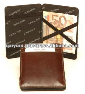 Fancy unisex high quality imitation Genuine leather magic wallet with credit card
