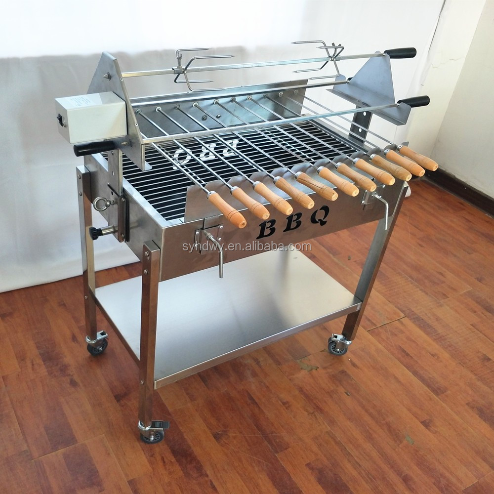 Charcoal Bbq Grill Trolley With Motor