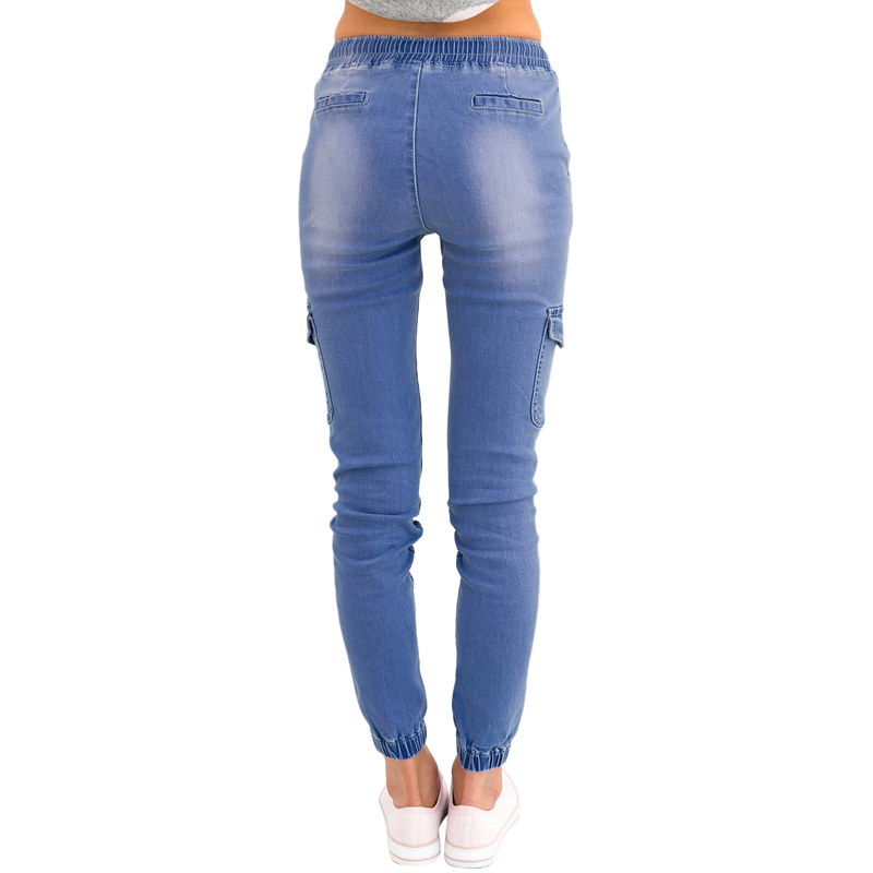New Design Fashion New Style Ladies Dark Denim  Drawstring Ankle Skinny Jeans Pants