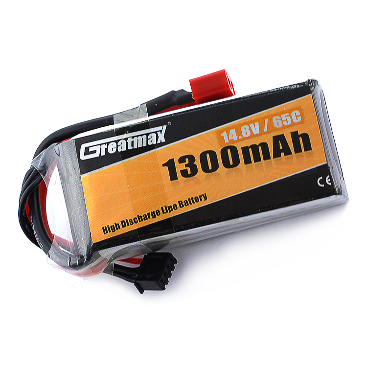 GreatMax LiPo <strong>Battery</strong> 1300mAh 65C 14.8V 4S1P for RC Models