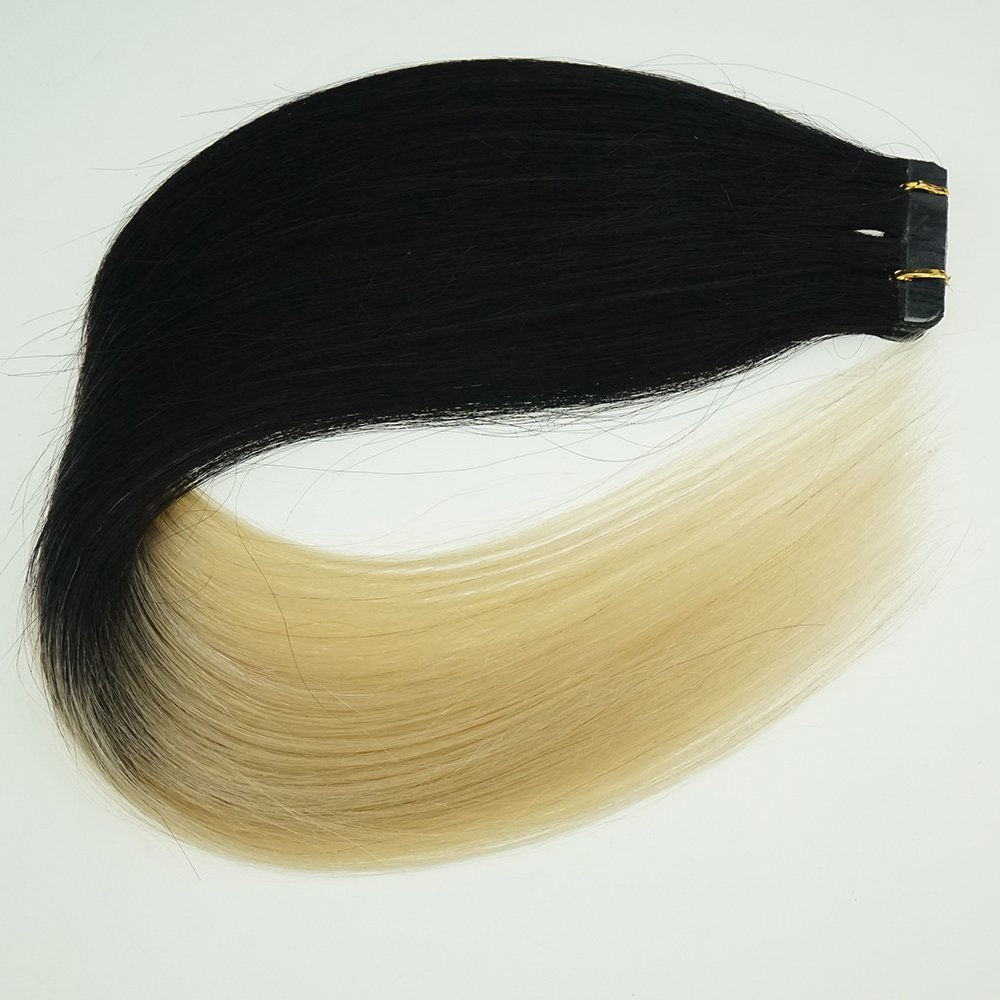 "18"" Tape in Human Hair Extensions Ombre Hair 20pcs/40g Woman Beauty Cosplay Wig,(Color #1/613 Top Jet Black End Light Blonde)"