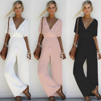 Fashion Women V Neck Loose Romper Party Ladies Chiffon Trousers Short Sleeve Long Jumpsuit