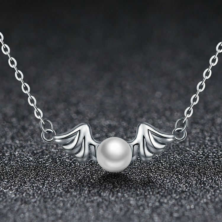 2017 High End Wedding Jewelry For Women Good Quality Pure Silver Angel Wing Pearl Necklace