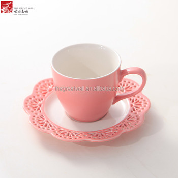 200ml Porcelain Drinking Tea Cup Set Elegant Hollow Flower Pink Coffee With Holder
