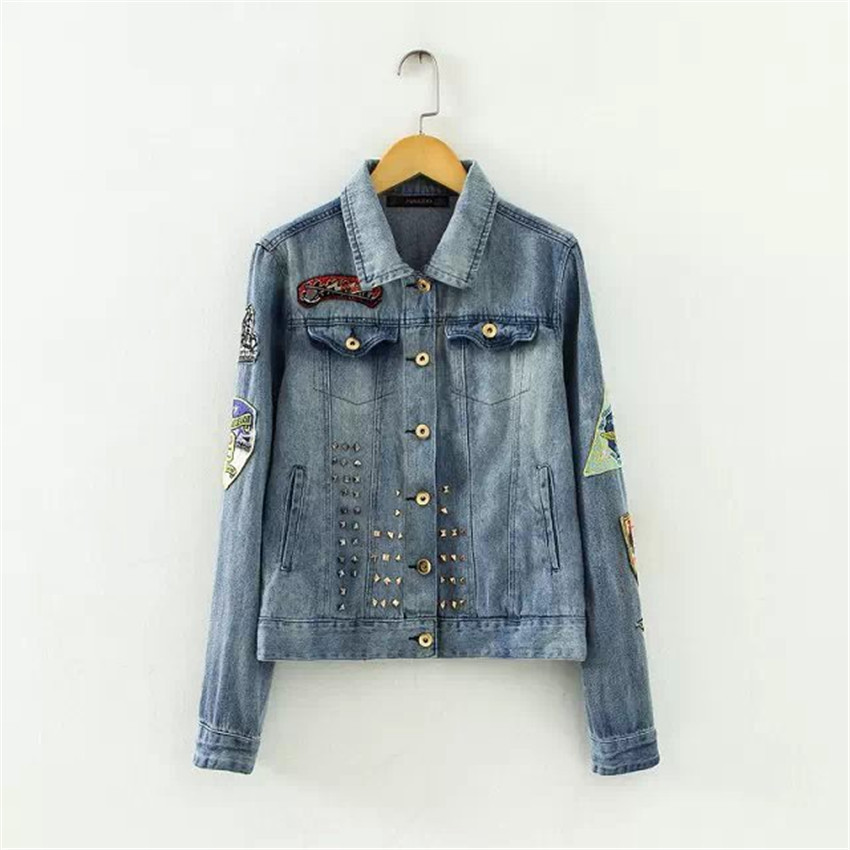 2015 new arrival high street women short solid slim denim jacket casual turn-down collar jean jackets outwear and coats