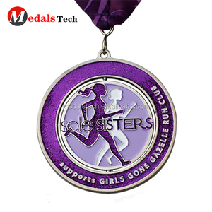 High quality enamel metal spinning glitter running sports medals with ribbon
