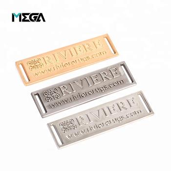 Whole Clothing Handbag Hardware Accessories Engraved Nickel Custom Metal Plate Label Tag Brand Logo