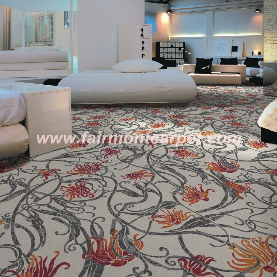 100 nylon printed wall to wall carpet carpet with leaf for Pattern wall to wall carpet