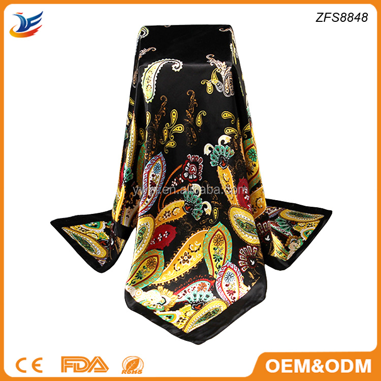 Fashion 100% satin promotional printed square scarf