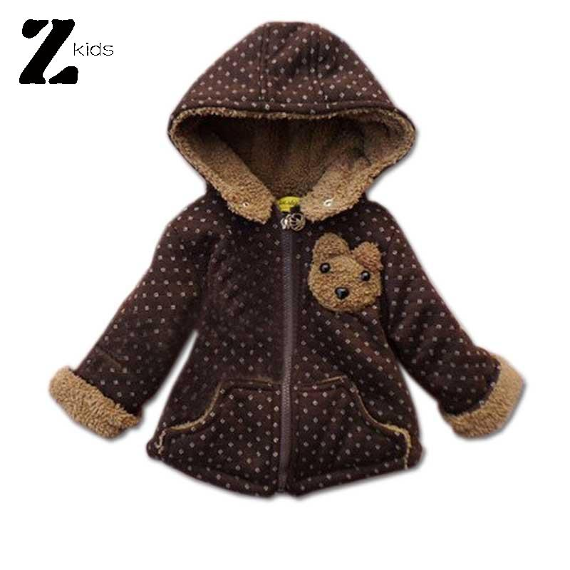 2015 Children Jackets And Winter Boys / Girls Winter Coat Cartoon Bear Patterns Warm Thick Outerwear Hooded Cotton Kids 3 Color