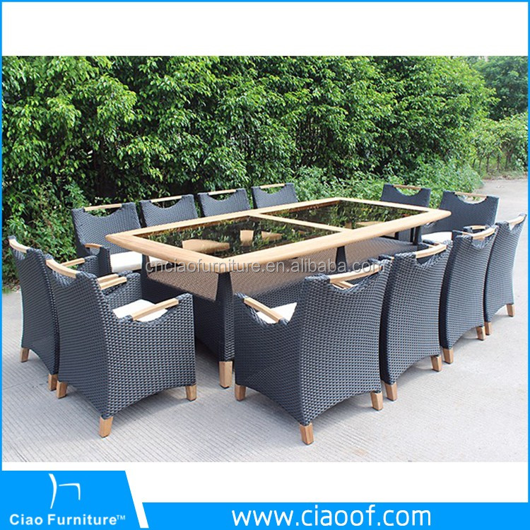 Top Design Rattan 10 Pc Patio Dining Table