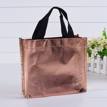 a28971631655 Portable Lamination Rose Gold Metallic Non Woven Fabric Shopping Bag ...