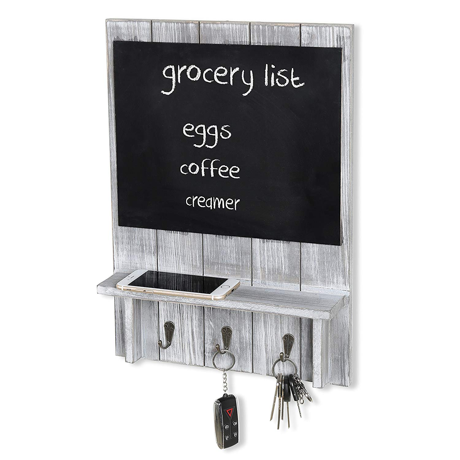 Rustic Dark Brown Wood Wall Mounted Mail Sorter Key Hook Organizer Rack with Chalkboard Sign