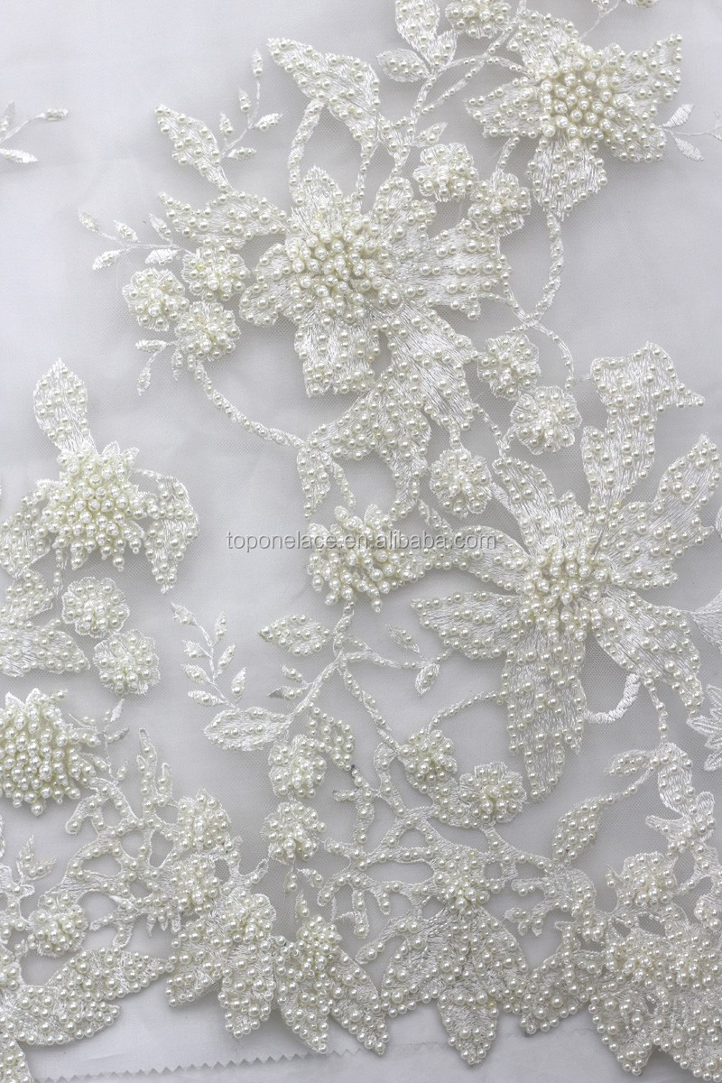 High Quality Ivory Tulle Beaded Lace Fabric Wholesale