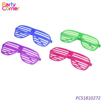 80's Rock Star Neon Color Shutter Glasses Party Slotted Sunglasses
