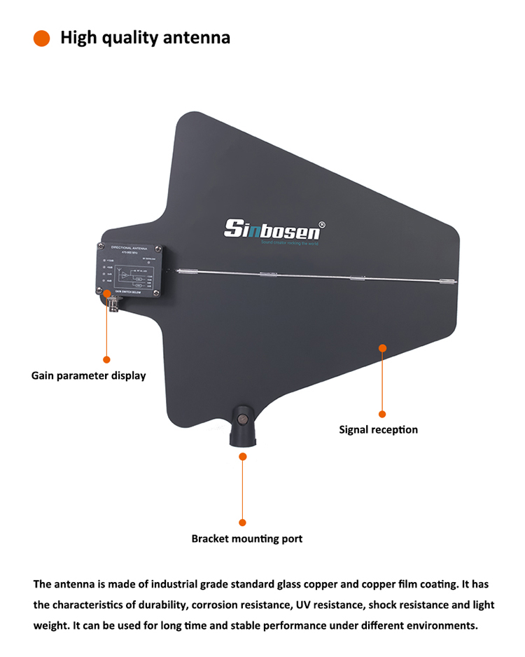 Sinbosen multiple frequencies wireless antenna amplifier A845 professional antenna for microphone