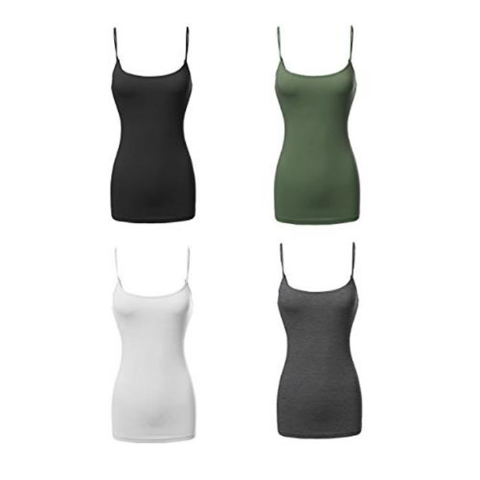 Women's Basic Solid Long Length Adjustable Tank Top