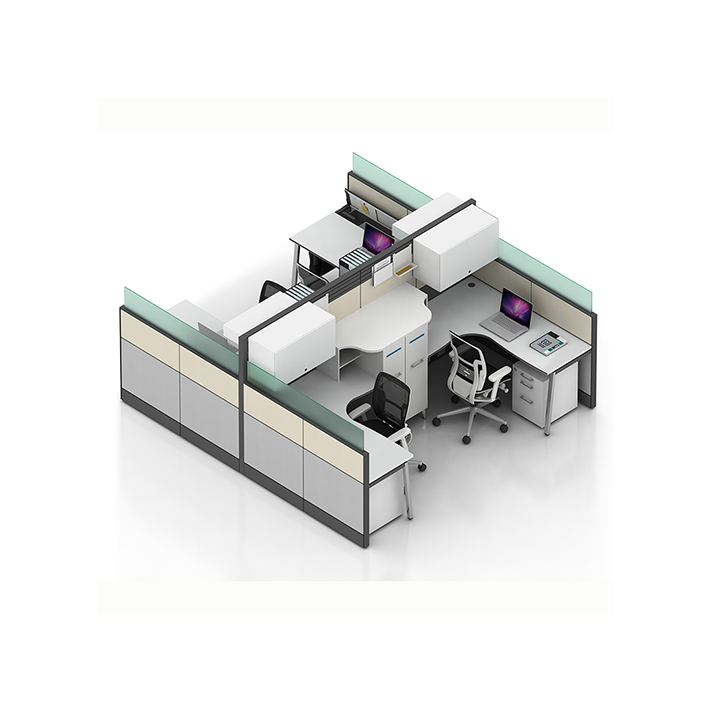 Modern office furniture designs 6 person partition workstation tables with wirebox computer desk