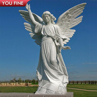 Carved White Marble Angel Statue