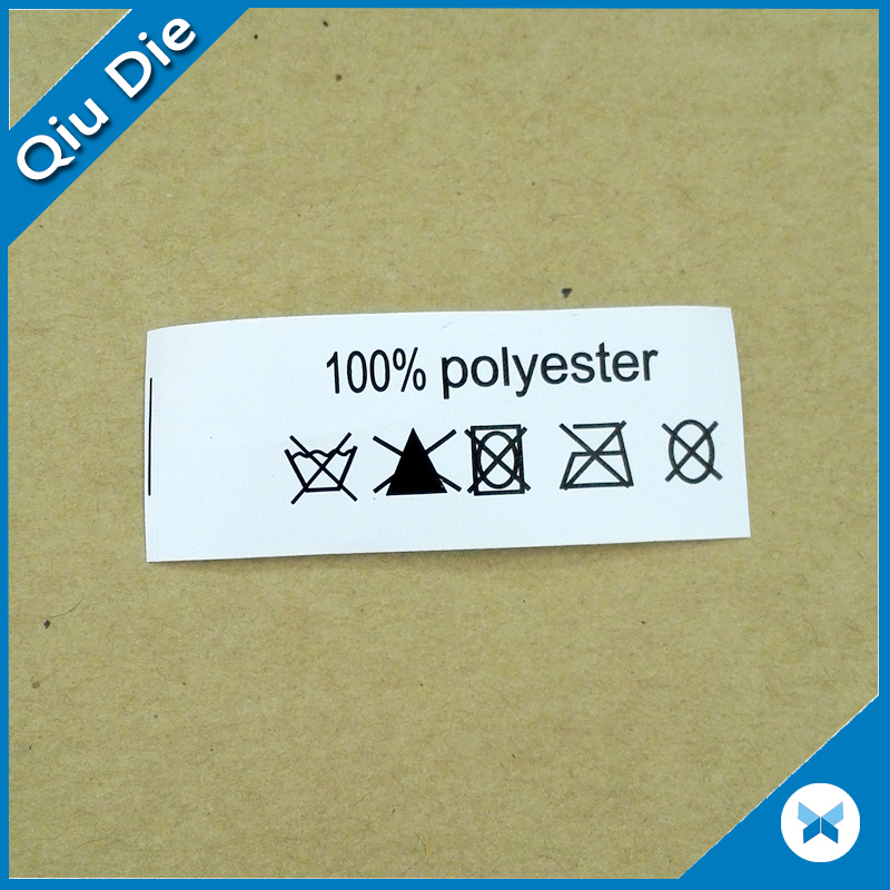 Cotton or 100% Polyester Satin Nylon Garment Care Label With Custom Printing