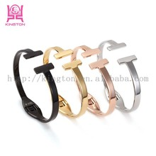 simple style stainless steel jewelry bangles,trend alphabet letter T bracelet for girls