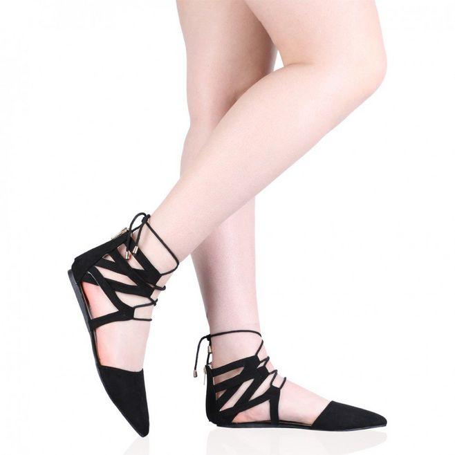 Pointed Toe Black Flat Lace Up Stylish